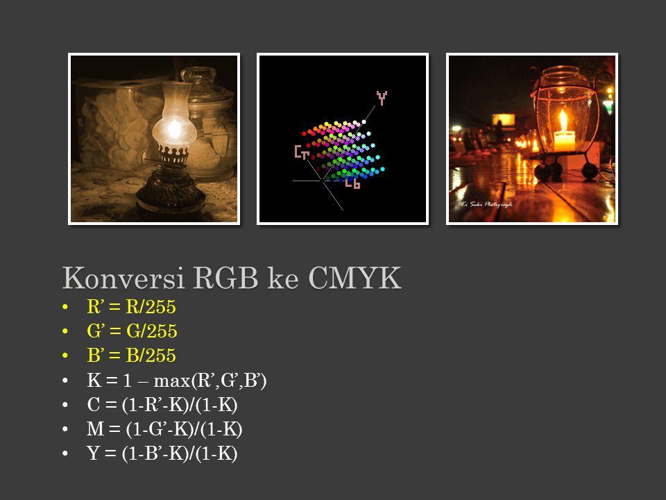 Konversi RGB ke CMYK R' = R/255 G' = G/255 B' = B/255
