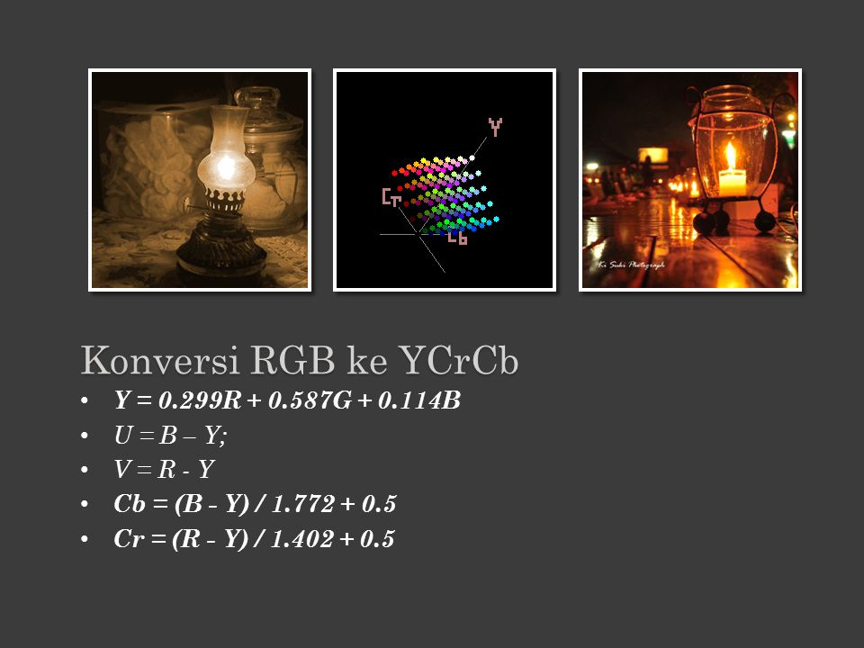 Konversi RGB ke YCrCb Y = 0.299R + 0.587G + 0.114B U = B – Y;