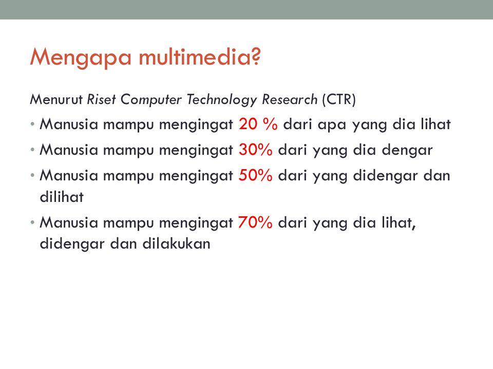 Mengapa multimedia Menurut Riset Computer Technology Research (CTR) Manusia mampu mengingat 20 % dari apa yang dia lihat.