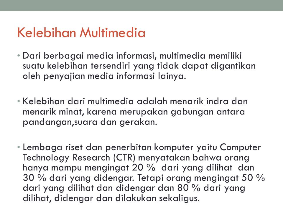 Kelebihan Multimedia