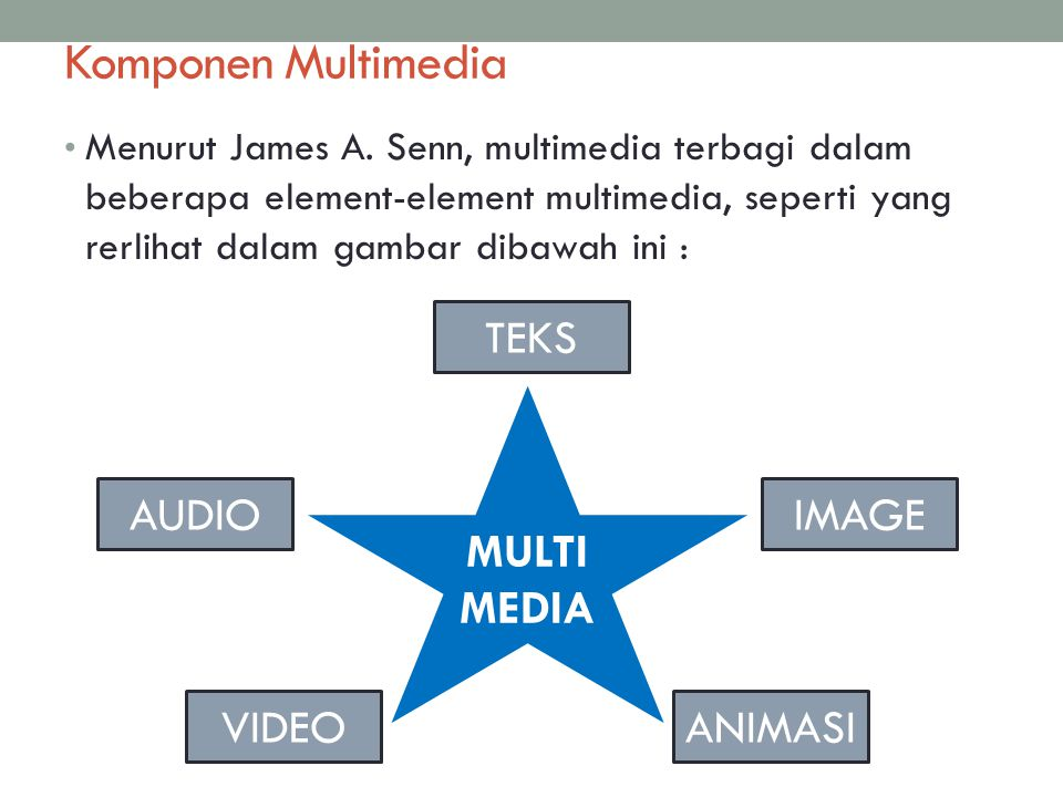 Komponen Multimedia TEKS MULTIMEDIA AUDIO IMAGE VIDEO ANIMASI