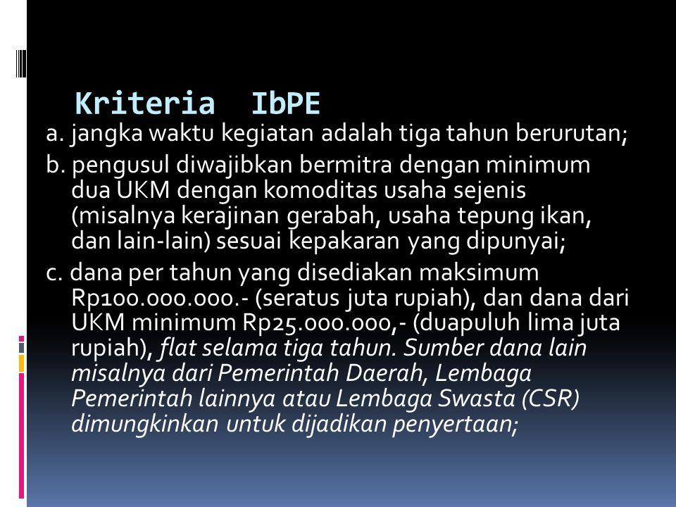Kriteria IbPE a. jangka waktu kegiatan adalah tiga tahun berurutan;