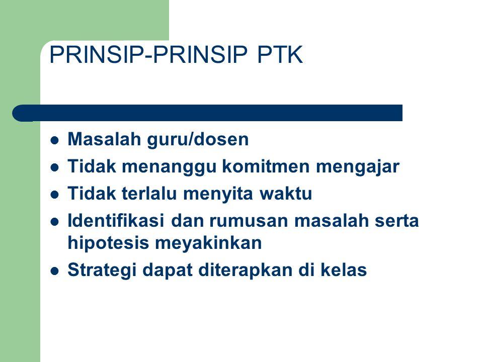 PRINSIP-PRINSIP PTK Masalah guru/dosen
