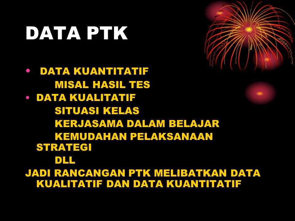 DATA PTK DATA KUANTITATIF MISAL HASIL TES DATA KUALITATIF
