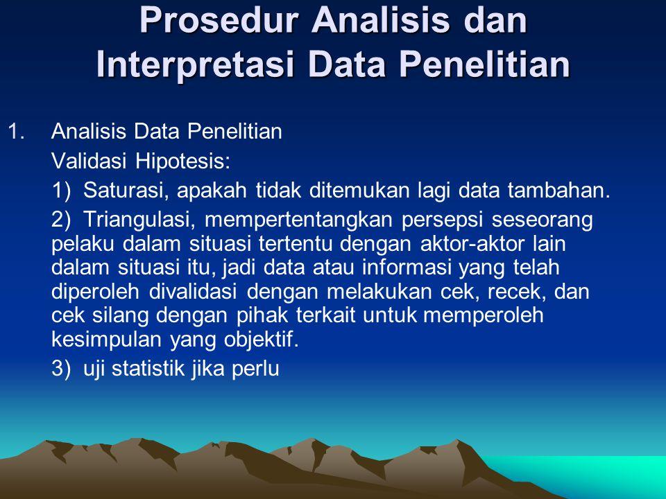 Prosedur Analisis dan Interpretasi Data Penelitian