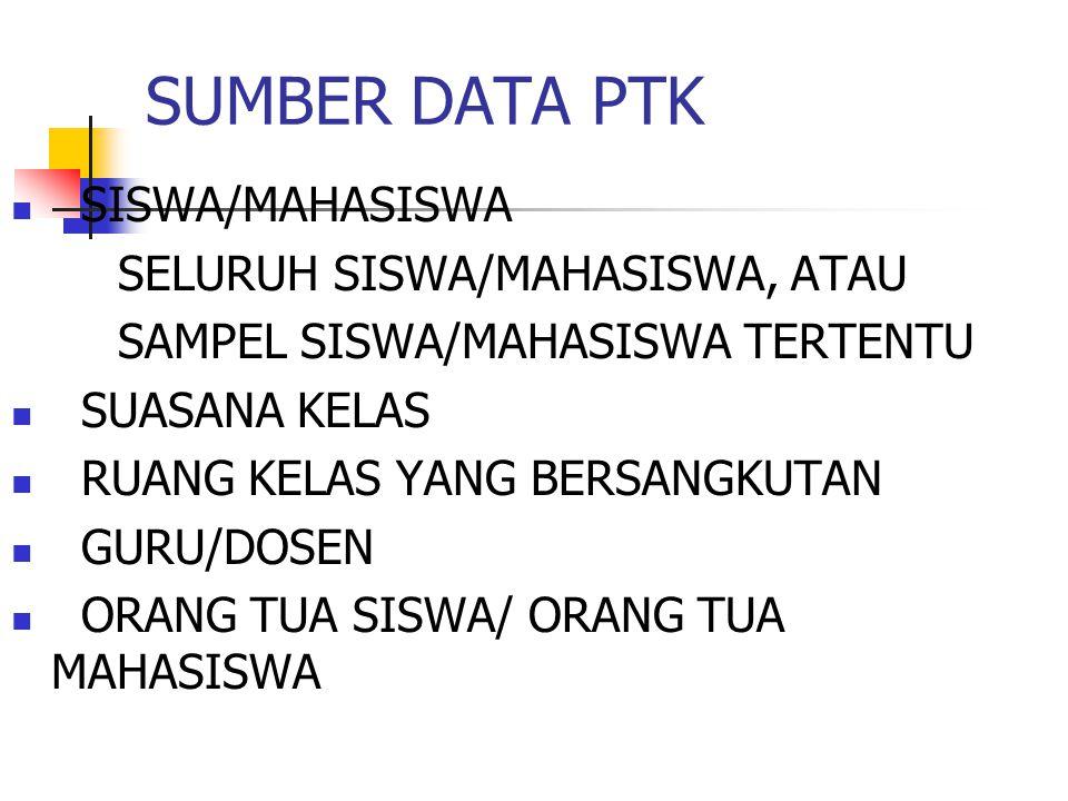 SUMBER DATA PTK SISWA/MAHASISWA SELURUH SISWA/MAHASISWA, ATAU