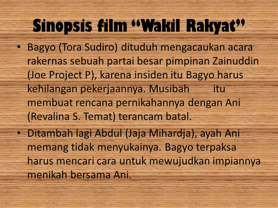 Sinopsis film Wakil Rakyat