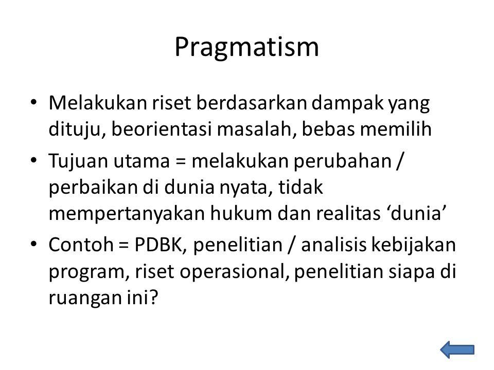 Pragmatism Melakukan riset berdasarkan dampak yang dituju, beorientasi masalah, bebas memilih.