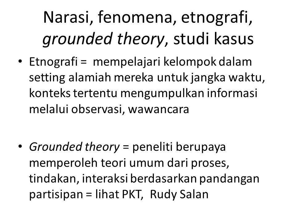 Narasi, fenomena, etnografi, grounded theory, studi kasus