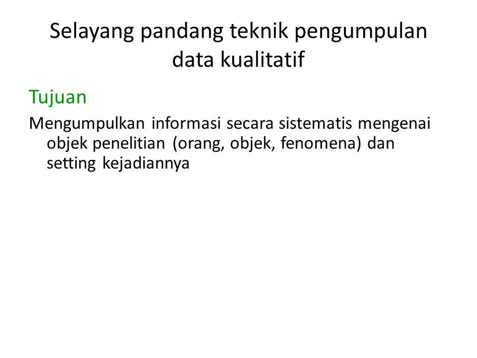 Selayang pandang teknik pengumpulan data kualitatif