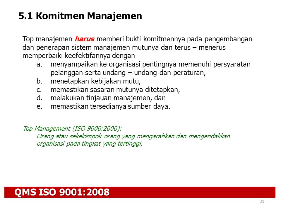 5.1 Komitmen Manajemen QMS ISO 9001:2008