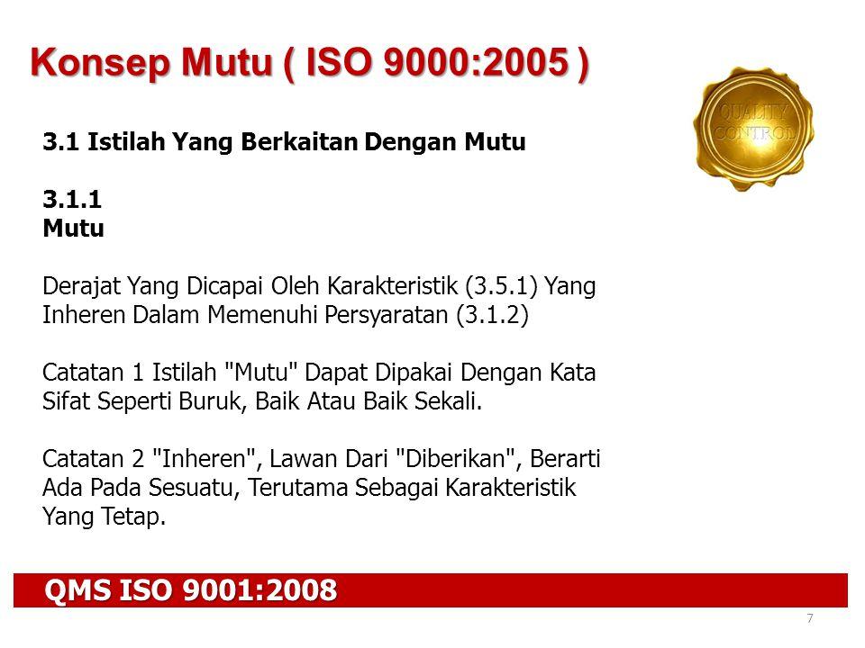 Konsep Mutu ( ISO 9000:2005 ) QMS ISO 9001:2008