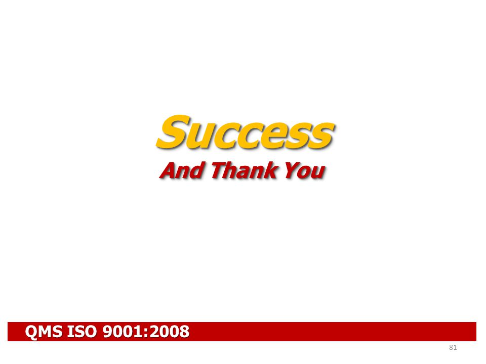 Success And Thank You QMS ISO 9001:2008