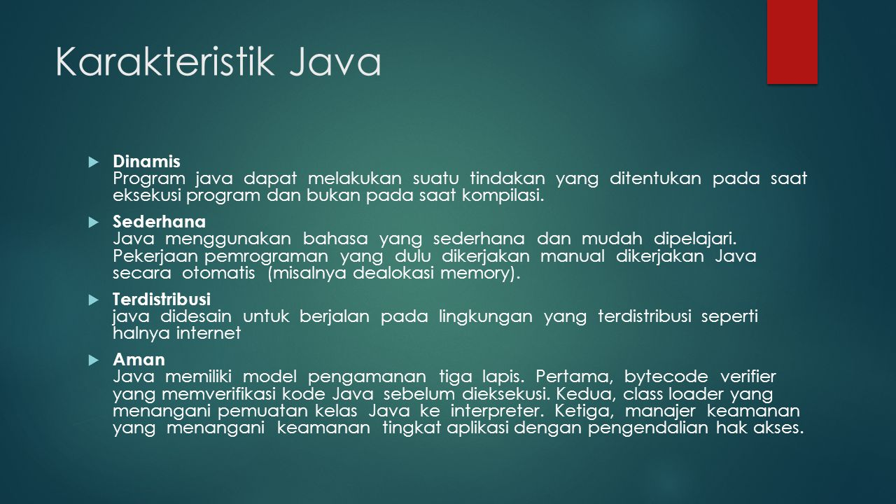 Karakteristik Java