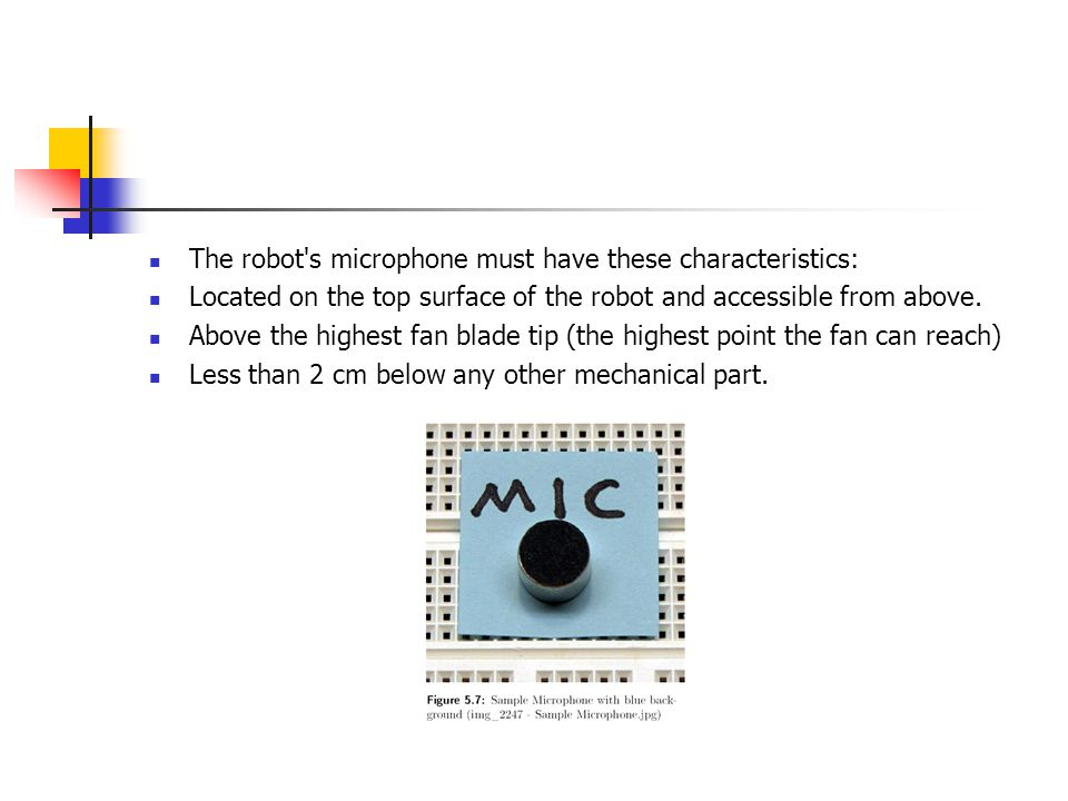 The robot s microphone must have these characteristics: