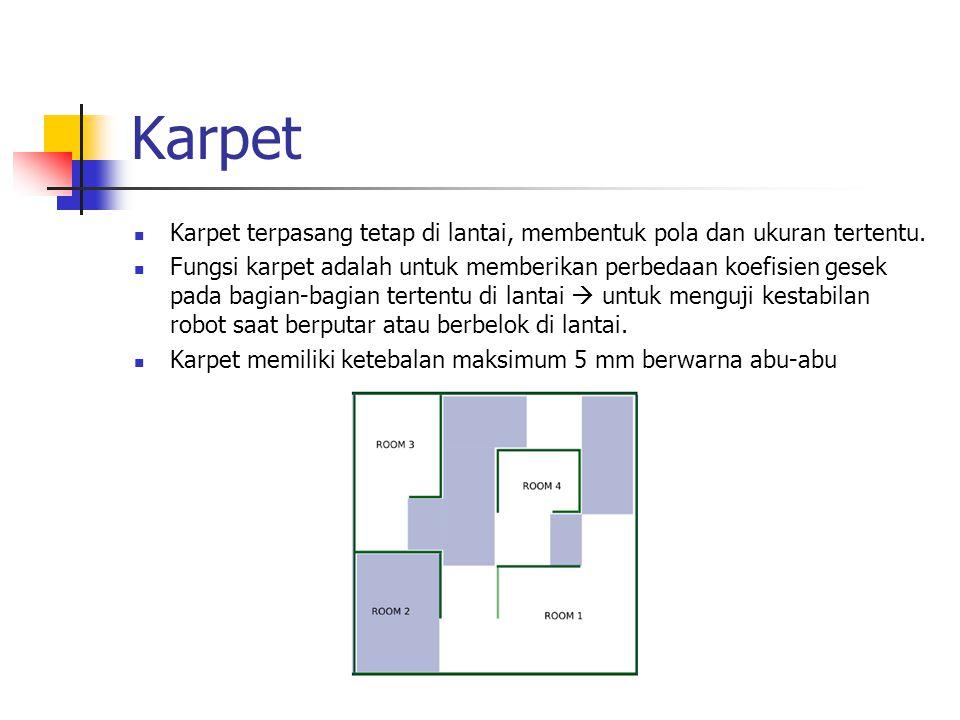 Karpet Karpet terpasang tetap di lantai, membentuk pola dan ukuran tertentu.