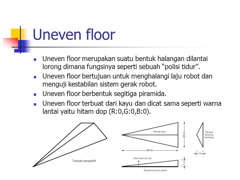 Uneven floor Uneven floor merupakan suatu bentuk halangan dilantai lorong dimana fungsinya seperti sebuah polisi tidur .