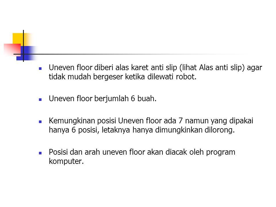 Uneven floor diberi alas karet anti slip (lihat Alas anti slip) agar tidak mudah bergeser ketika dilewati robot.
