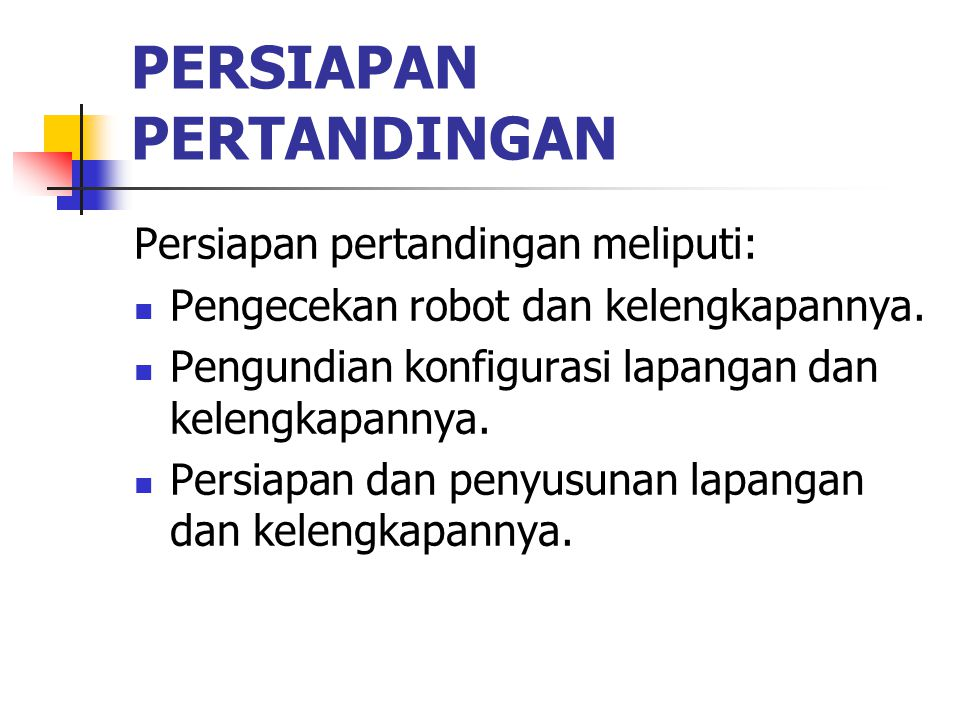 Persiapan Pertandingan
