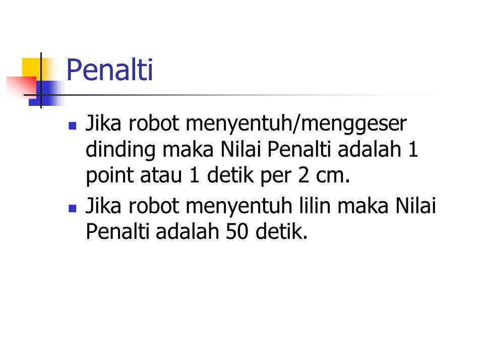 Penalti Jika robot menyentuh/menggeser dinding maka Nilai Penalti adalah 1 point atau 1 detik per 2 cm.