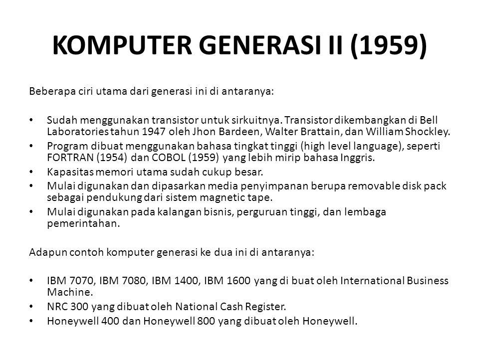 KOMPUTER GENERASI II (1959)