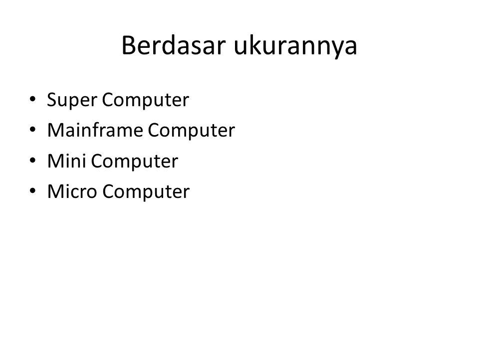 Berdasar ukurannya Super Computer Mainframe Computer Mini Computer