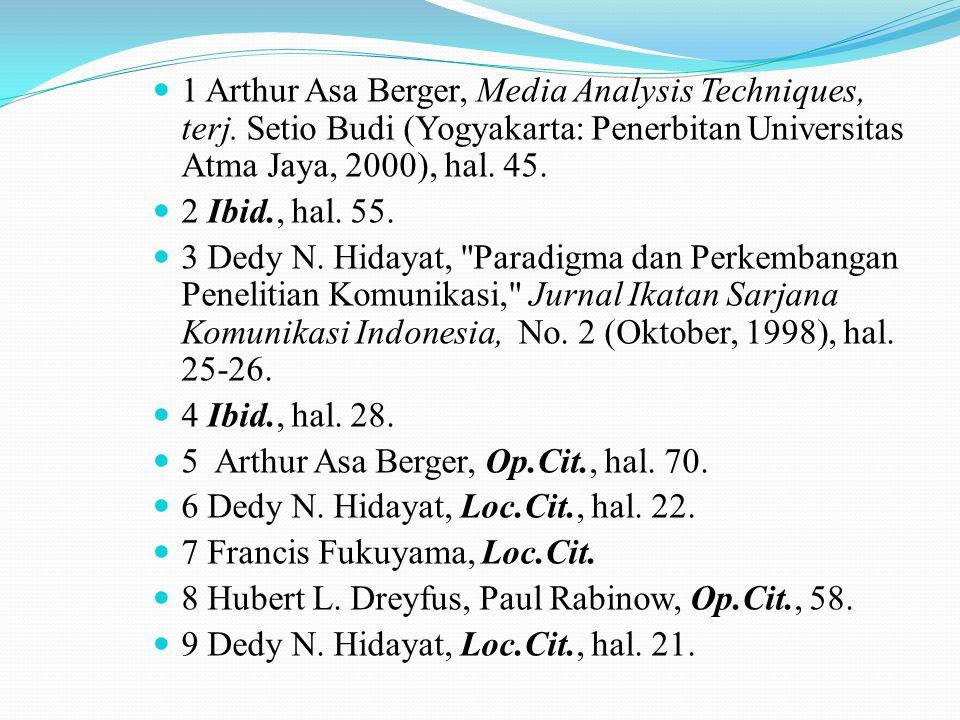 1 Arthur Asa Berger, Media Analysis Techniques, terj