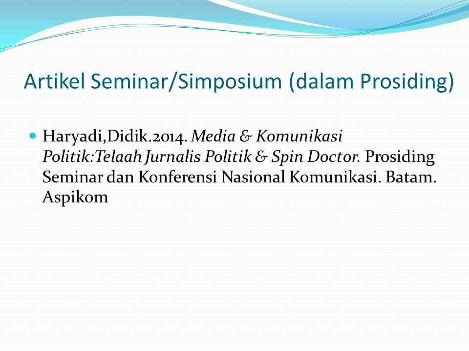 Artikel Seminar/Simposium (dalam Prosiding)