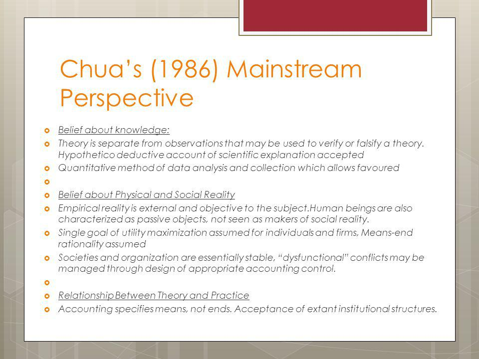 Chua's (1986) Mainstream Perspective