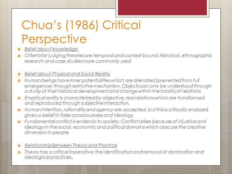Chua's (1986) Critical Perspective