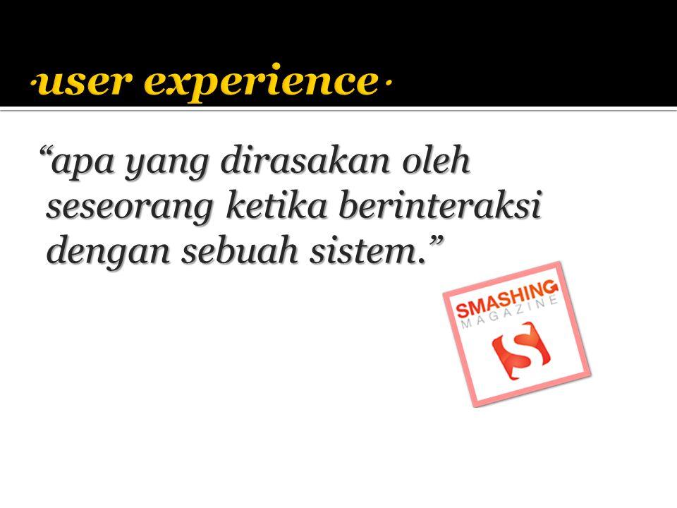 user experience apa yang dirasakan oleh