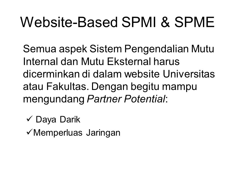 Website-Based SPMI & SPME