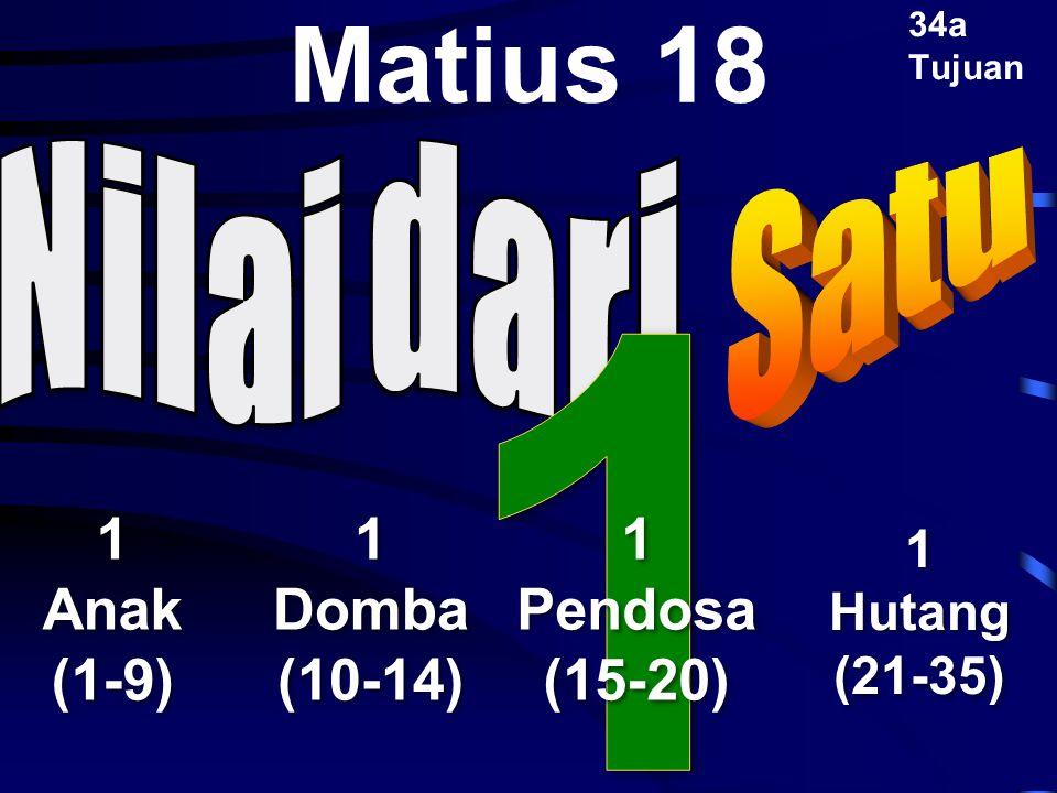 1 Matius 18 1 Anak (1-9) 1 Domba (10-14) 1 Pendosa (15-20) Satu