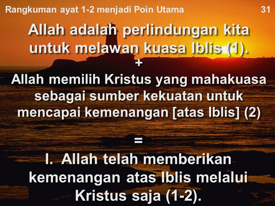 Rangkuman ayat 1-2 menjadi Poin Utama