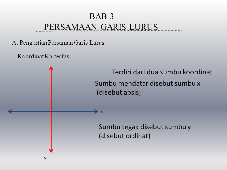 BAB 3 PERSAMAAN GARIS LURUS Terdiri dari dua sumbu koordinat