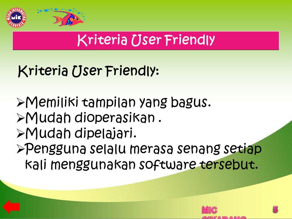 Kriteria User Friendly
