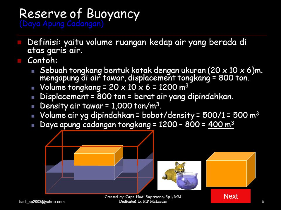 Reserve of Buoyancy (Daya Apung Cadangan)