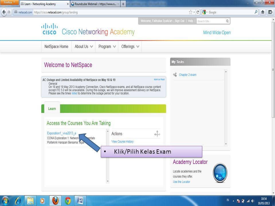 Klik/Pilih Kelas Exam
