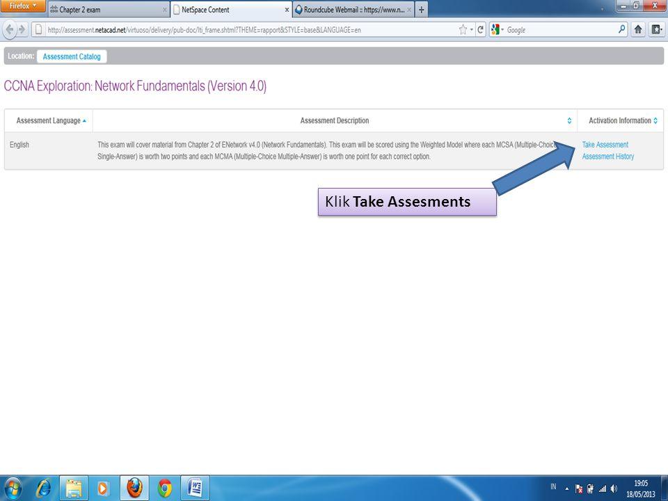 Klik Take Assesments