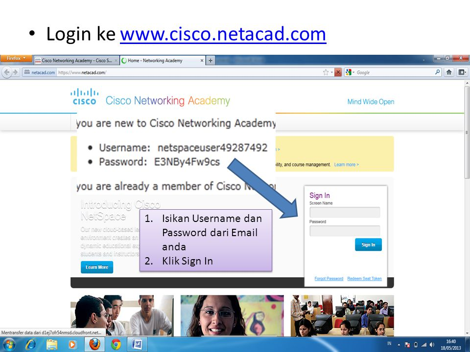 Login ke www.cisco.netacad.com