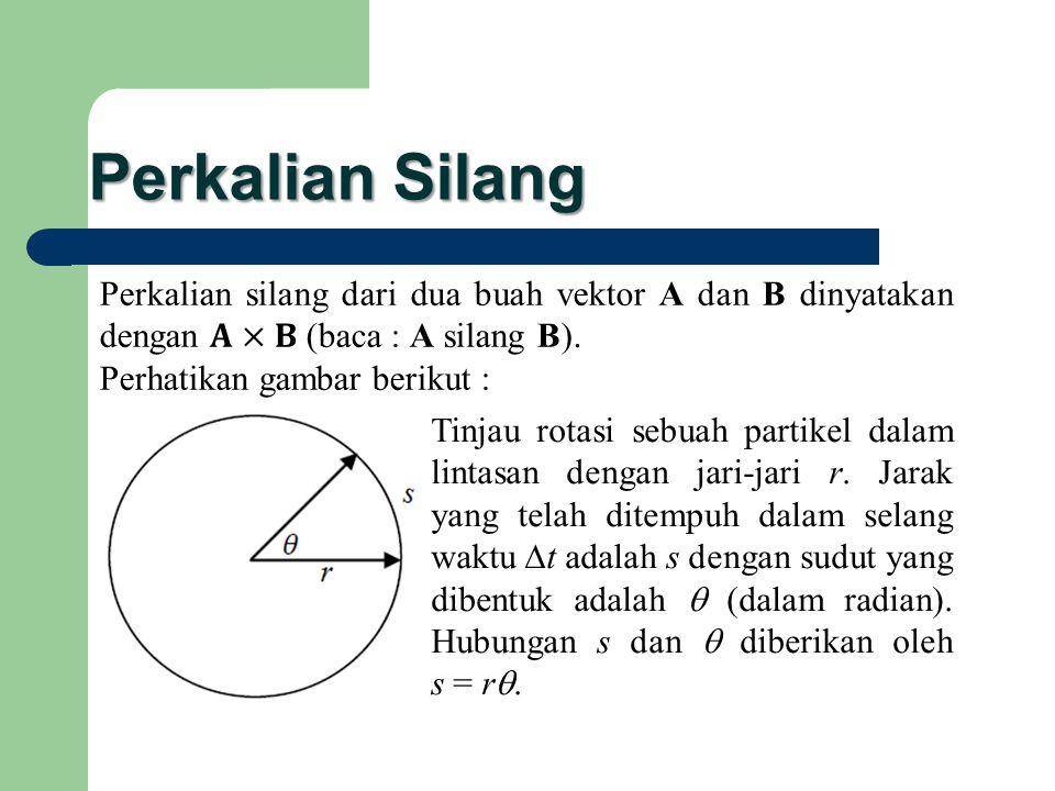 Perkalian Silang Perkalian silang dari dua buah vektor A dan B dinyatakan dengan 𝐀×𝐁 (baca : A silang B).