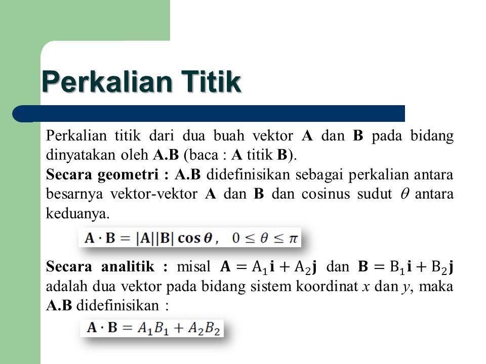 Perkalian Titik Perkalian titik dari dua buah vektor A dan B pada bidang dinyatakan oleh A.B (baca : A titik B).