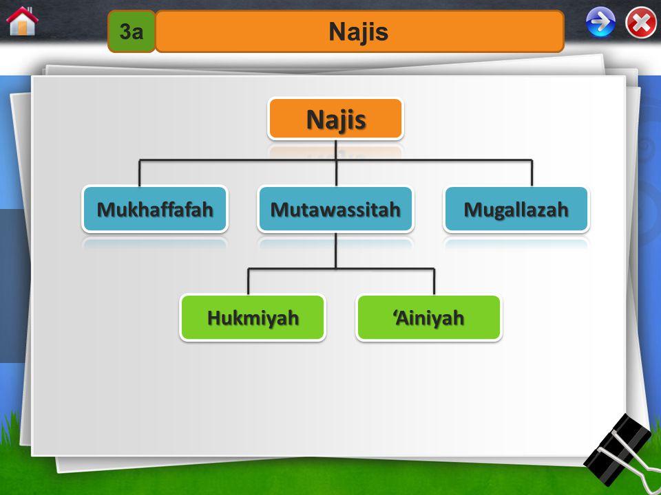 3a Najis Najis Mukhaffafah Mutawassitah Mugallazah Hukmiyah 'Ainiyah