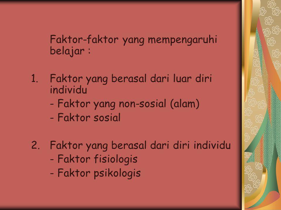 Faktor-faktor yang mempengaruhi belajar :