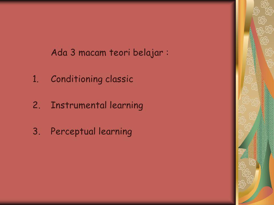 Ada 3 macam teori belajar :