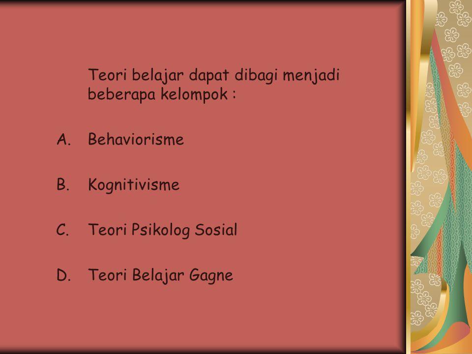 Teori belajar dapat dibagi menjadi beberapa kelompok :