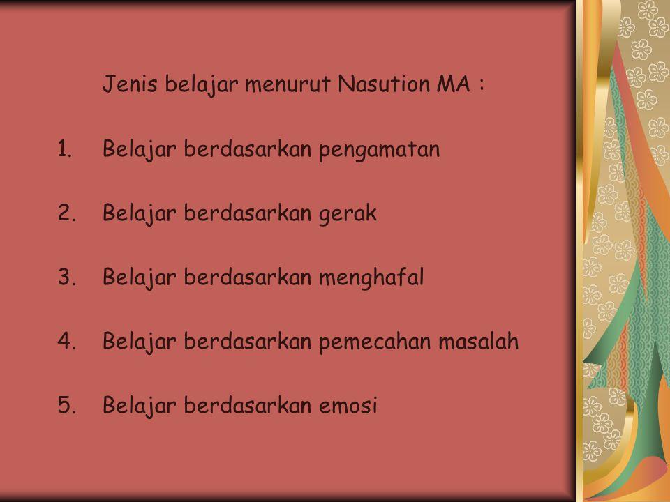 Jenis belajar menurut Nasution MA :