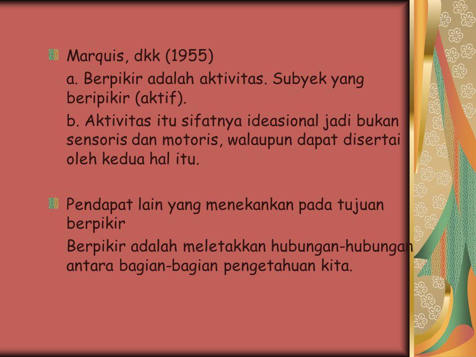 Marquis, dkk (1955) a. Berpikir adalah aktivitas. Subyek yang beripikir (aktif).