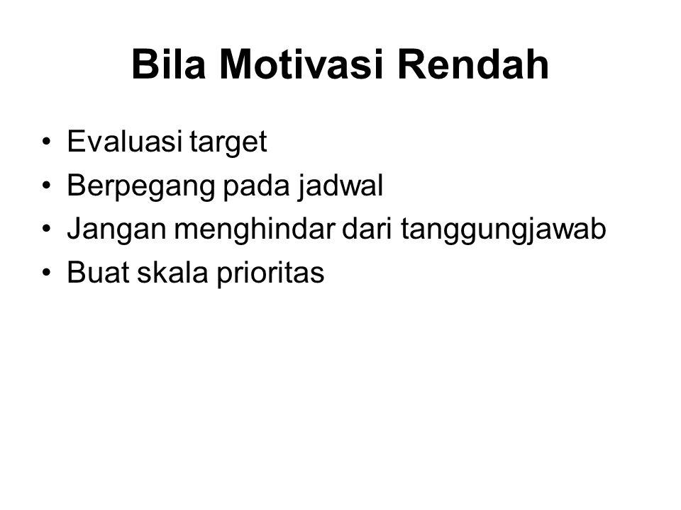 Bila Motivasi Rendah Evaluasi target Berpegang pada jadwal