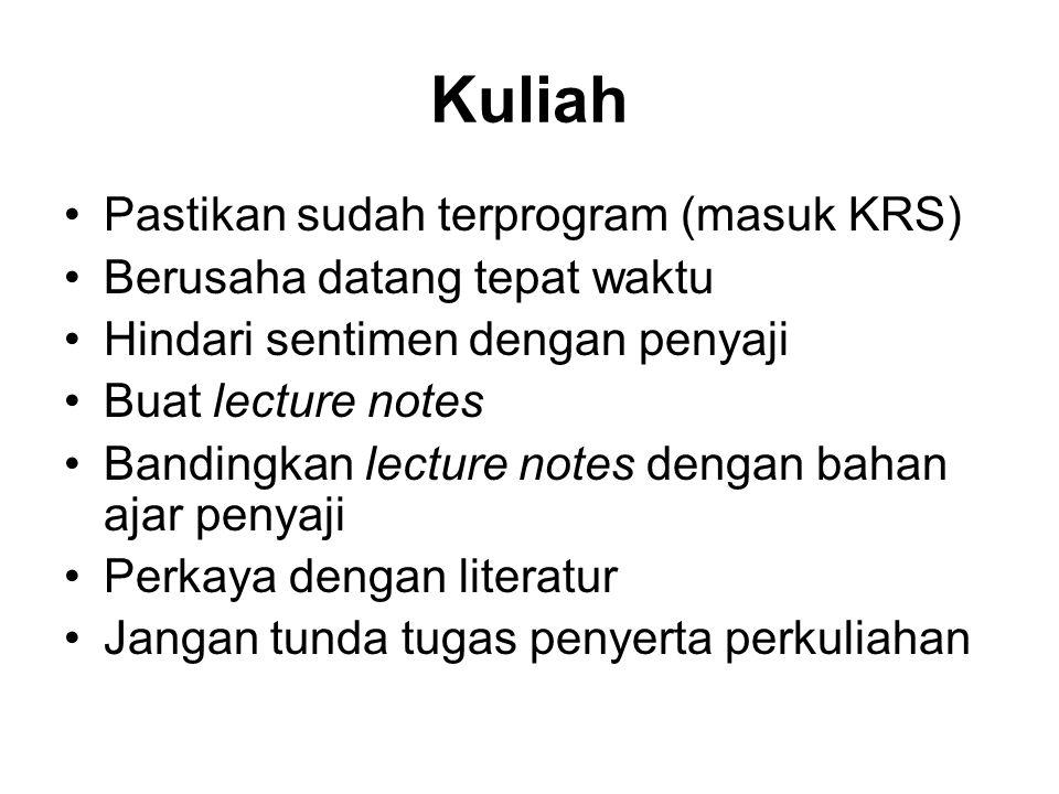 Kuliah Pastikan sudah terprogram (masuk KRS)